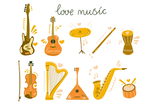 Set of hand drawn musical instrument for education, courses, festive, shop. Flat illustration.