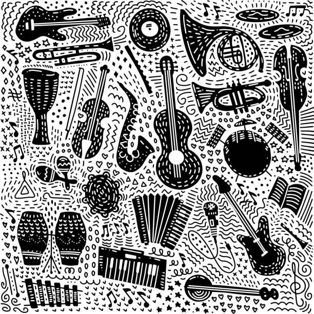 set of hand drawn musical instruments theme isolated on white background. ornate black doodle set of music theme. vector illustration - instrument strunowy stock illustrations