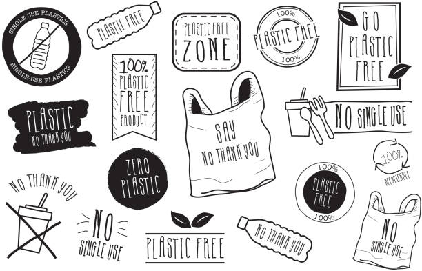 Set of hand drawn No Plastic Label designs in black and white vector art illustration