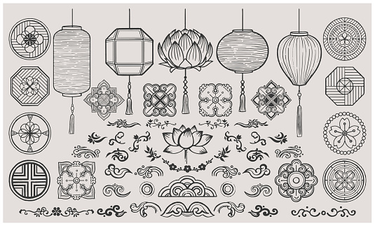 Set of hand drawn ofiental elements. Asian Lanterns and Traditional patterns.