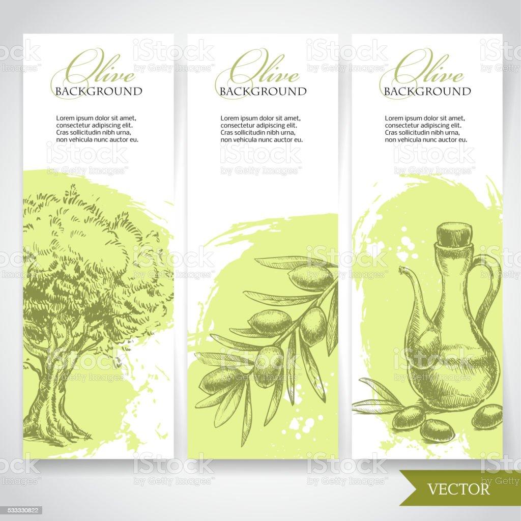 Desenhado à mão conjunto de bandeiras de azeite. Azeitonas e de azeite e ramo de oliveira árvore - ilustração de arte vetorial
