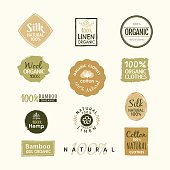 Set of hand drawn organic clothes logo label badge design vector template