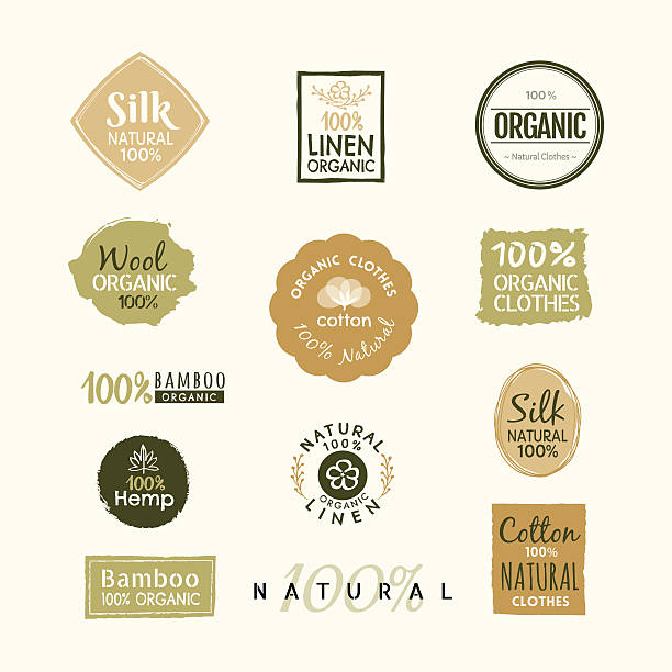 set of hand drawn organic clothes logo label badge design - flannel backgrounds stock illustrations, clip art, cartoons, & icons