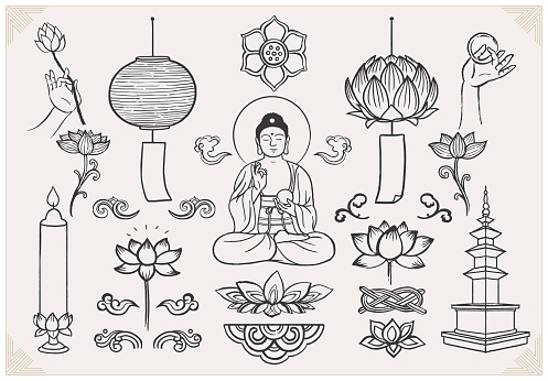 Set of hand drawn oriental elements. Sitting Buddha with hands and lotus. Asian traditional design.