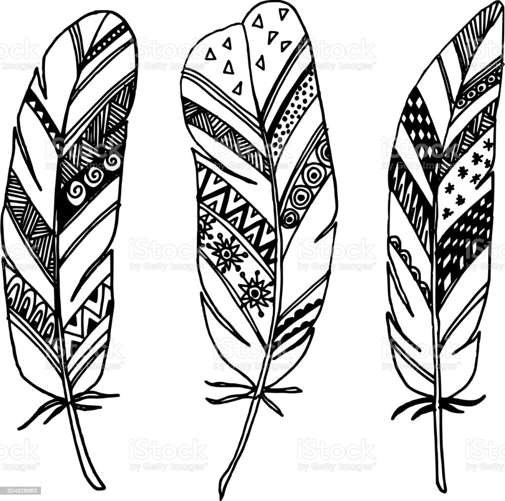 Line Art Media Design : Set of hand drawn ornamental feathers line art vectors