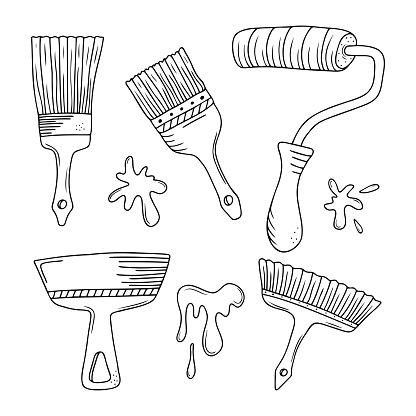 Set of hand drawn paintbrush and roller, construction spatula, blots isolated on a white background. Doodle, simple outline illustration. It can be used for decoration of textile, paper.