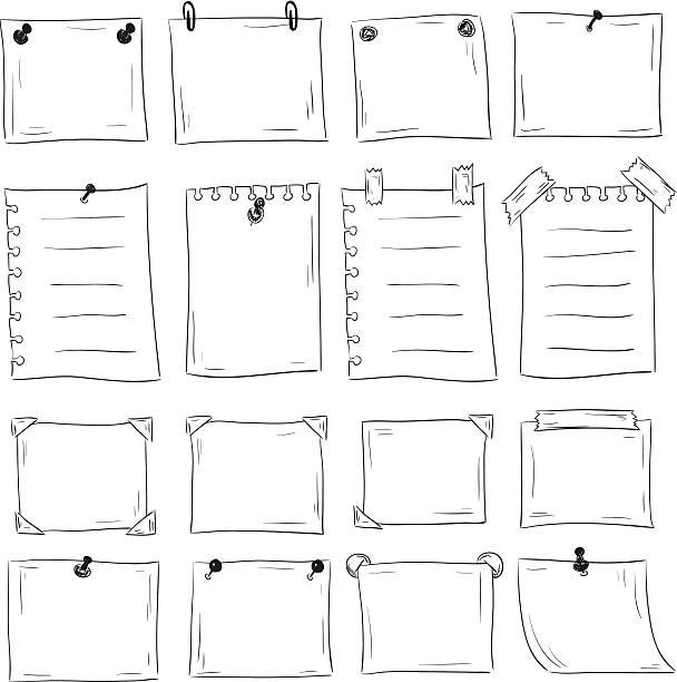 set of hand drawn бумага для заметок - post it notes stock illustrations