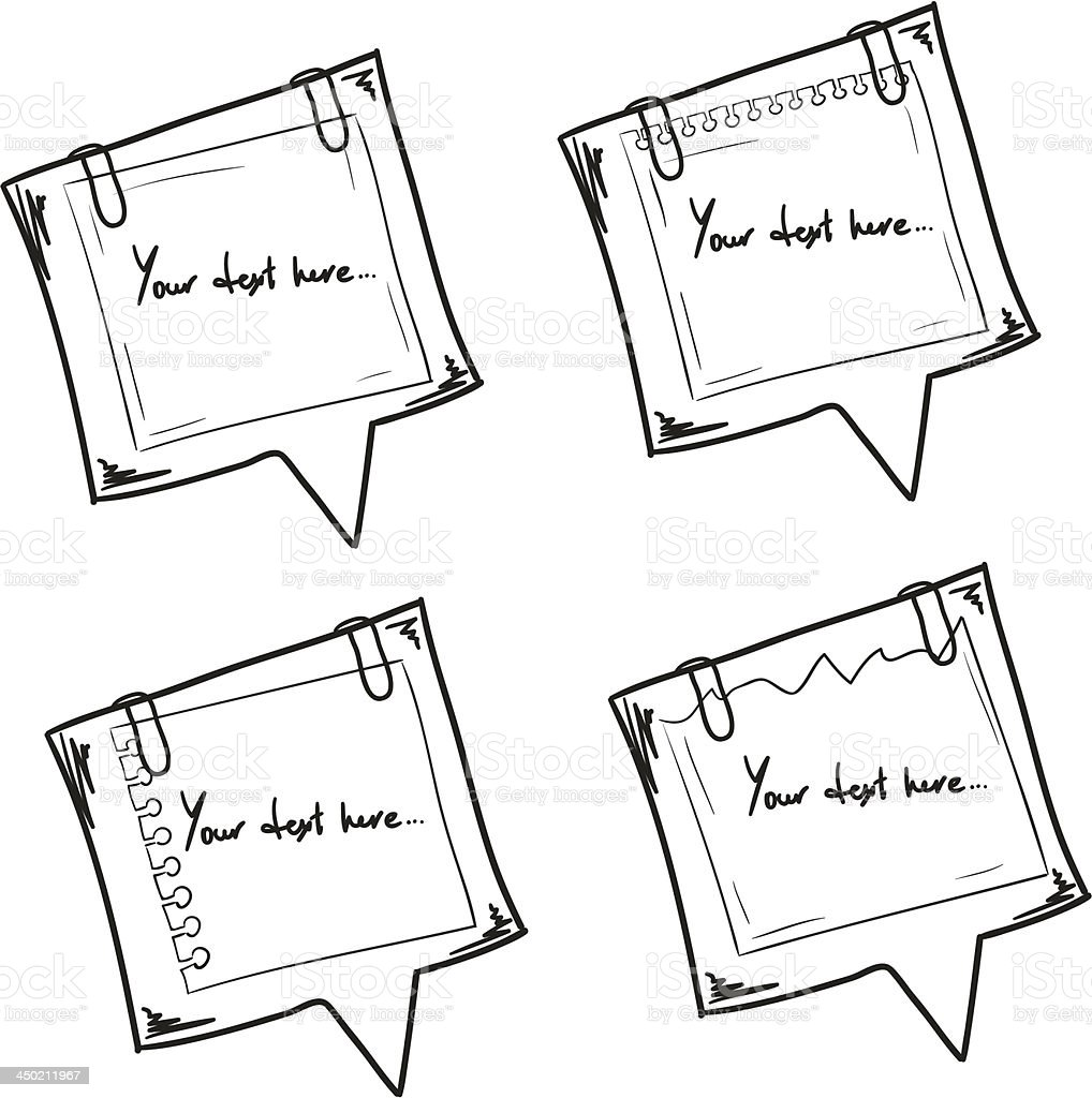 Set of hand drawn paper notes. royalty-free stock vector art
