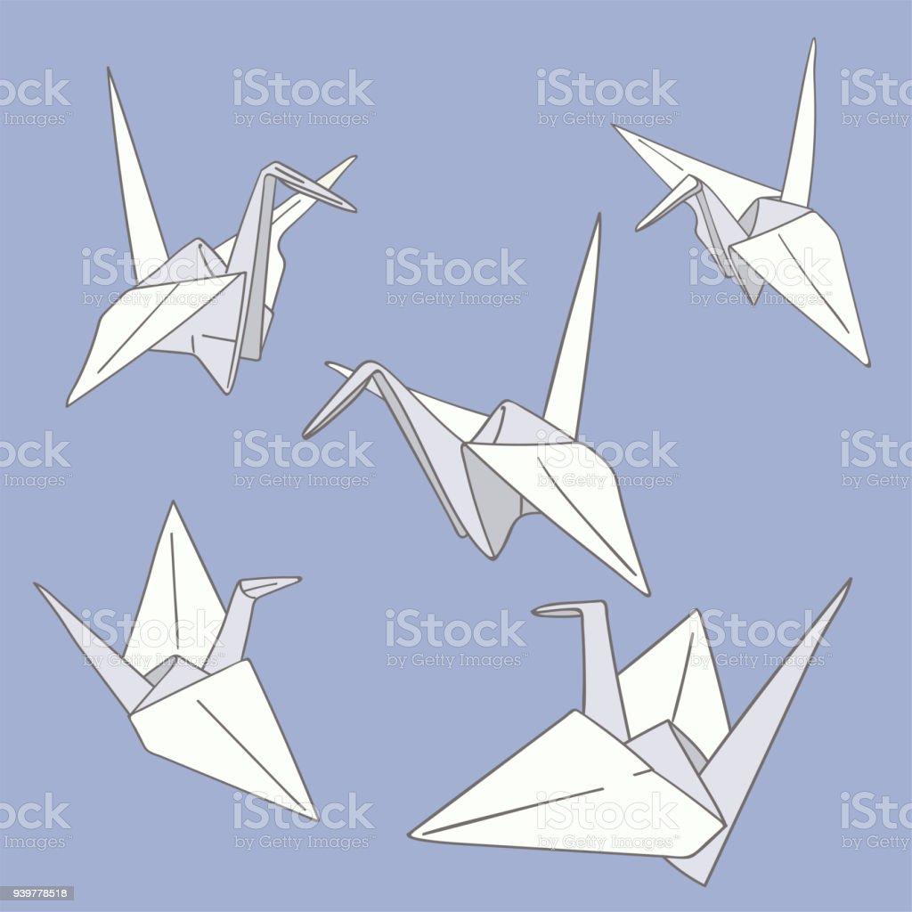 Ensemble De Dessinés à La Main Papier Origami Oiseaux Sur Le Bleu Ensemble  De Dessinés à
