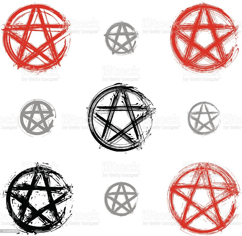Set of hand drawn pentagram icons scanned and vectorized vector art illustration