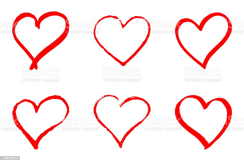 Set of hand drawn red vector hearts on white background - arte vettoriale royalty-free di Amicizia