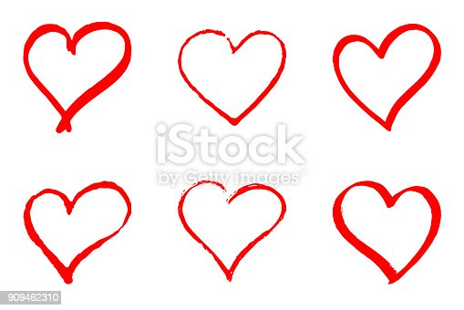 Set of hand drawn red vector hearts on white background