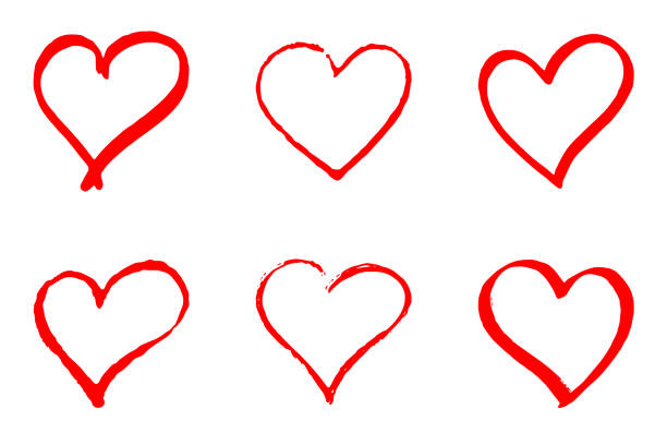 set of hand drawn red vector hearts on white background - serce symbol idei stock illustrations