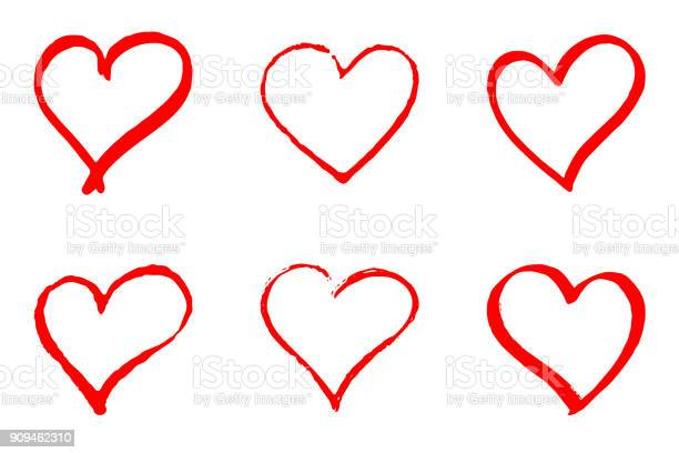 Set Of Hand Drawn Red Vector Hearts On White Background - Immagini vettoriali stock e altre immagini di Amicizia
