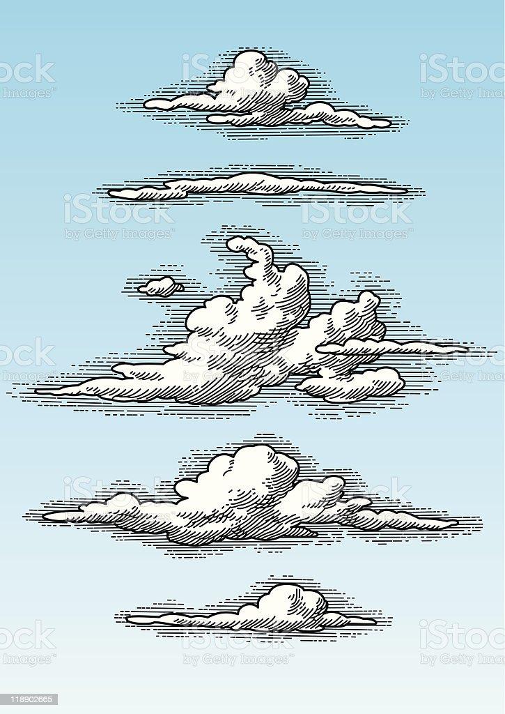 set of hand drawn retro clouds (vector) vector art illustration