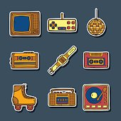 Set of hand drawn retro stickers