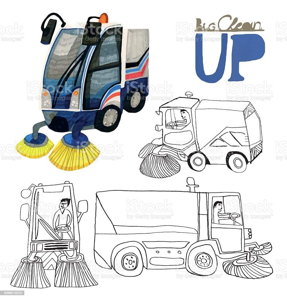 Set of hand drawn road sweepers isolated on white vector art illustration
