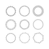 Set of hand drawn round frames. Vector isolated. Fancy design elements.