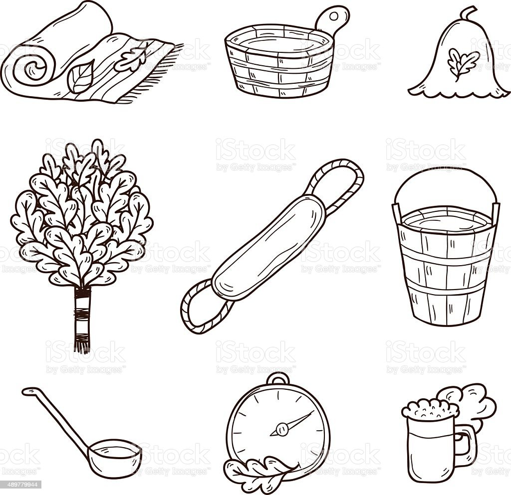 Set of hand drawn sauna icons: broom, towel, hat, wisp vector art illustration