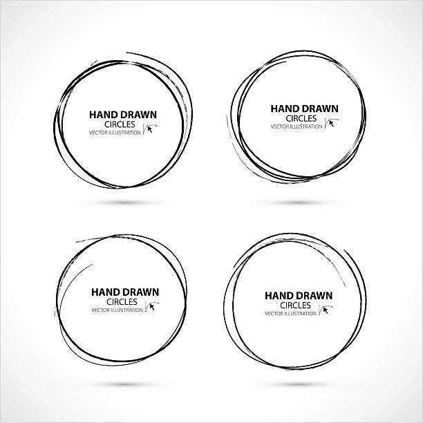 set of hand drawn scribble circles, vector design elements - いたずら書き/手書きのフレーム点のイラスト素材/クリップアート素材/マンガ素材/アイコン素材