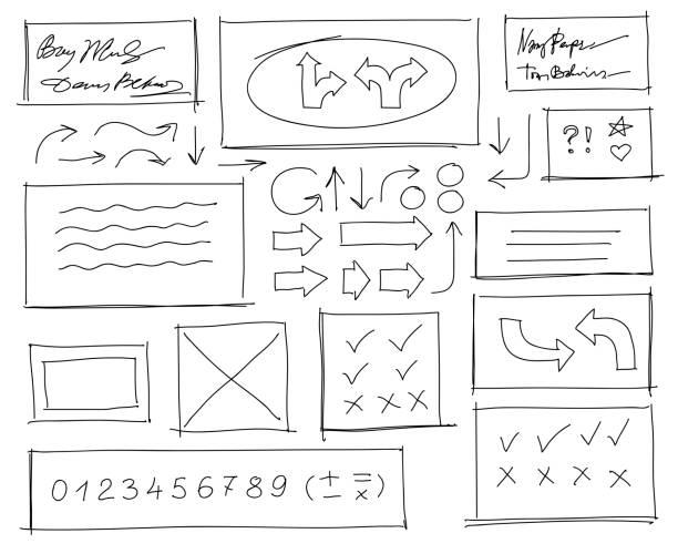 Satz von handgezeichneten Kritzeleien Design-Elemente. Schwarzweiß-Vektor-Illustration – Vektorgrafik