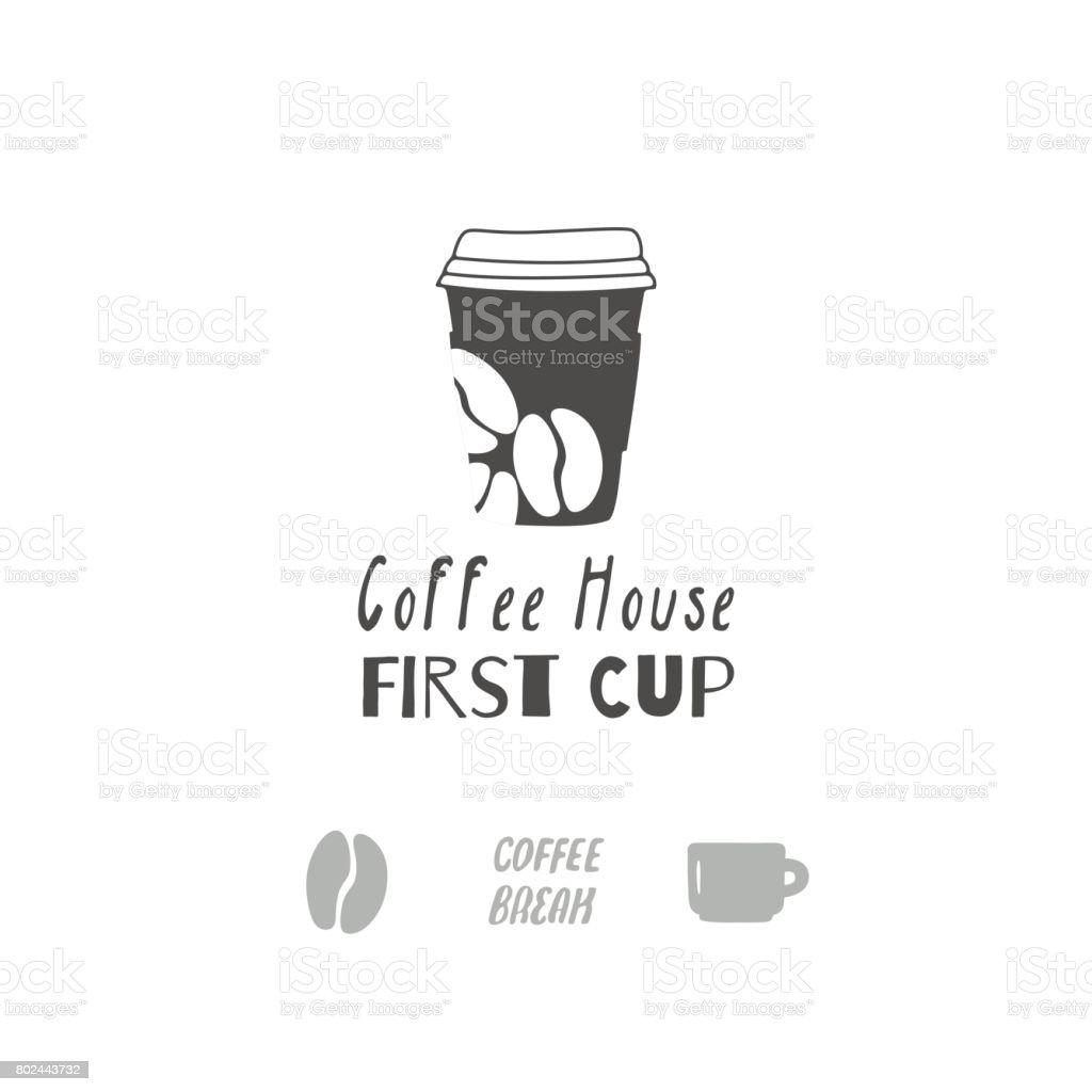 Satz Von Handgezeichneten Silhouetten Coffeeshop Zeichen Vorlagen ...