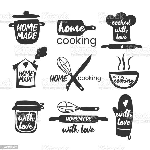 Set Of Hand Drawn Simple Kitchen Phrases Homemadewith Love Home Cooking Cooked With Love Badges Labels