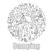 Set of hand drawn sketch camping equipment symbols and icons. Vector illustration