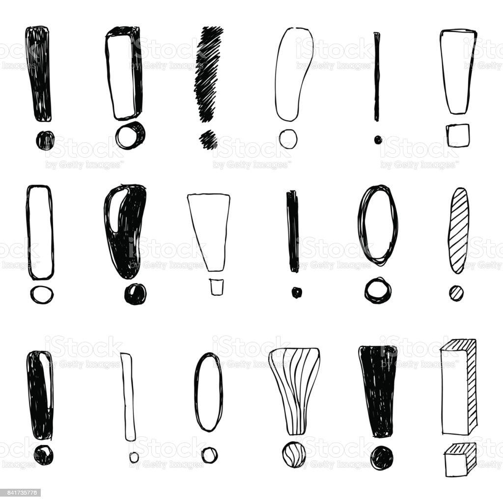 Satz von Hand gezeichnete Skizze Ausrufezeichen. Vektor-illustration – Vektorgrafik