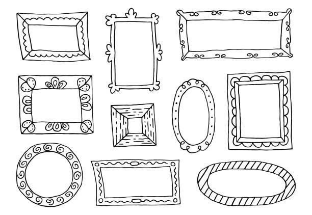 手描きスケッチ フレームのセットです。 - 美術館点のイラスト素材/クリップアート素材/マンガ素材/アイコン素材
