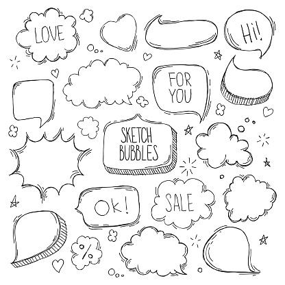 Set of hand drawn sketch Speech bubbles. Vector illustration.
