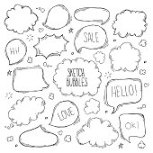 Set of hand drawn sketch Speech bubbles. Vector illustration.