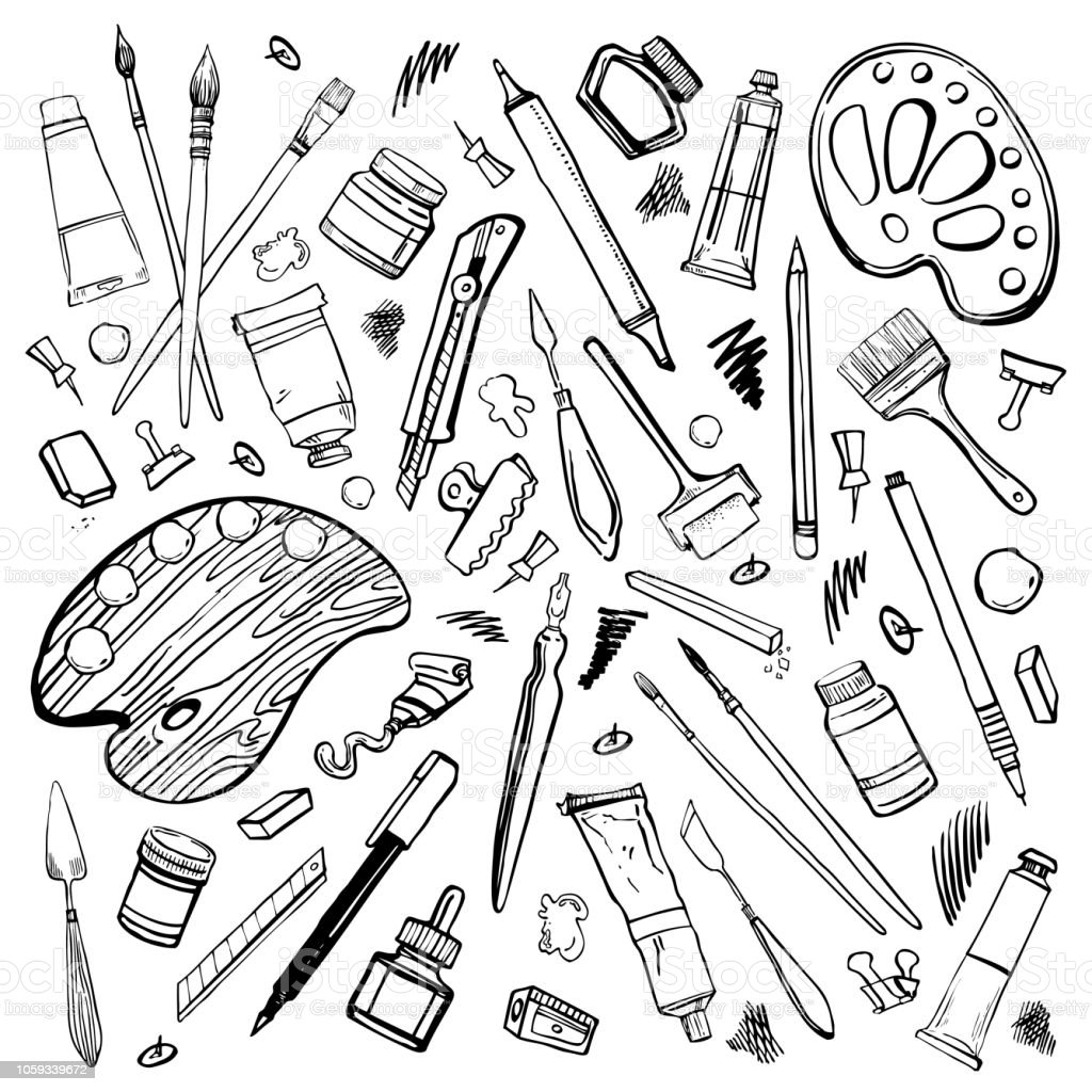 Set of hand drawn sketch vector artist materials black and