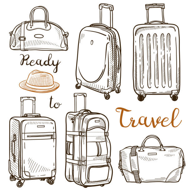Set of hand drawn sketches of travel luggage: handbags, suitcases, travel bags Vector ink isolated illustration airport drawings stock illustrations