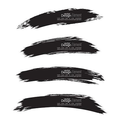 Set of hand drawn grunge brush smears. dark color