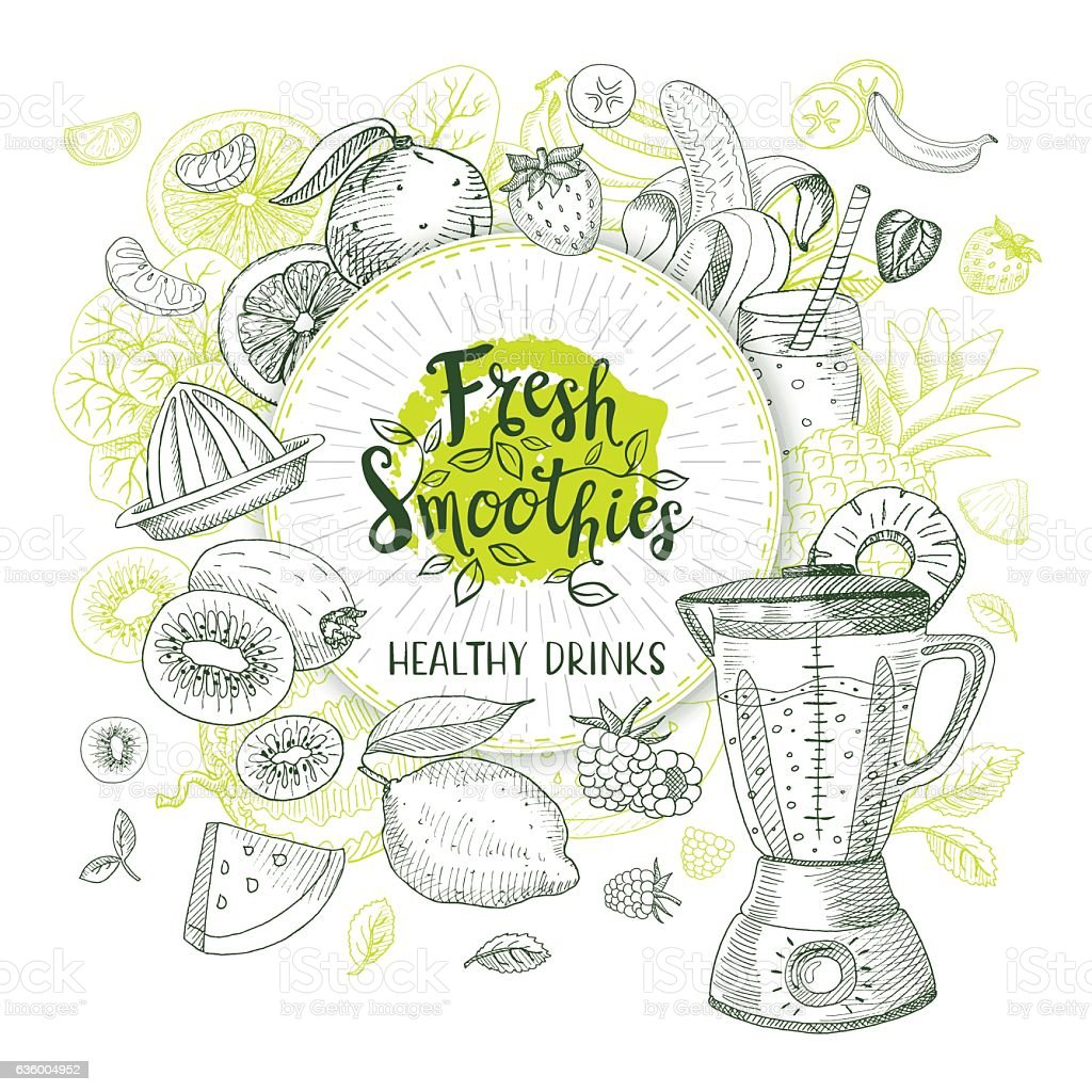 Set of hand drawn smoothie lables vector art illustration