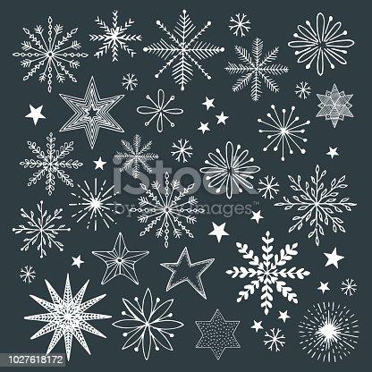 istock Set of hand drawn snoflakes. Vector illustration. Isolated. Christmas design. 1027618172
