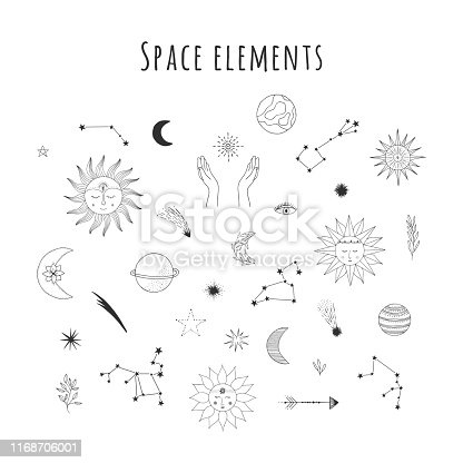 Set of hand drawn space design elements. Sun with face, falling star, comet, planet, zodiac sign, hands, crescent, half moon, starburst. Vector doodle isolated illustration.