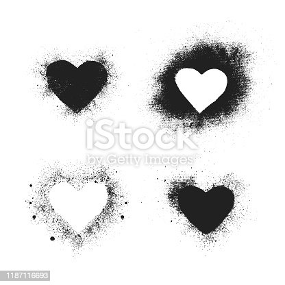 Set of hand drawn spray paint heart text box border frames. Grunge background for valentines day. Vector isolated airbrush ink dot love banner.