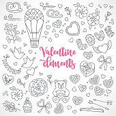 Set of hand drawn St. Valentine's Day design elements