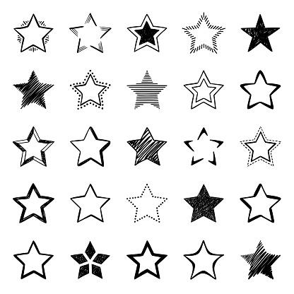 Set of hand drawn star icons