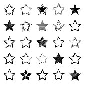 Stars, vector design elements. Hand drawn icons set on a white background.