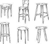 Set of hand drawn stools
