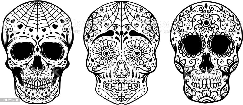 Ilustración De Juego De Calaveras De Azúcar De Dibujado A Mano