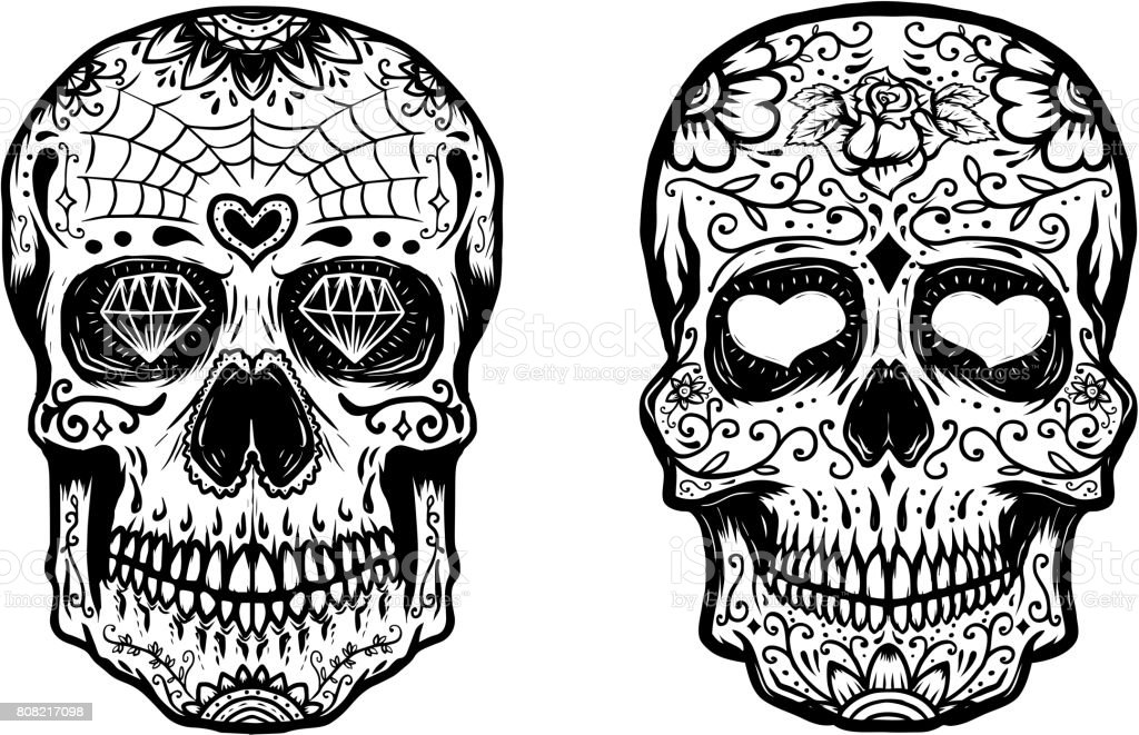 Set of hand drawn sugar skulls on white background. Vector illustration vector art illustration