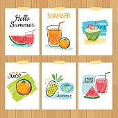 set of hand drawn summer cards.Label of vacation flat design.