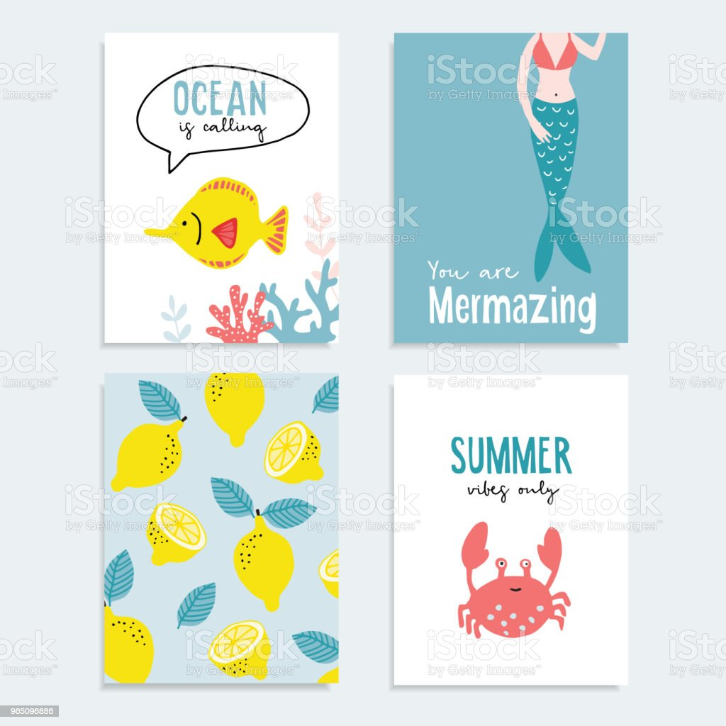 Set of hand drawn summer greeting or journaling cards. Tropical design with lemon fruit, fish, ocral reef, crab and marmaid tail . Summer vacation, ocean concept. Vector illustrations. royalty-free set of hand drawn summer greeting or journaling cards tropical design with lemon fruit fish ocral reef crab and marmaid tail summer vacation ocean concept vector illustrations stock vector art & more images of animal