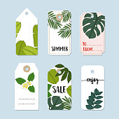Set of hand drawn summer vintage sale labels and gift tags. Trendy tropical jungle design with palm and monstera leaves. Isolated vector objects, stock illustrations.