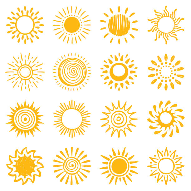 Set of hand drawn sun icons Sun, vector design elements. Hand drawn icons set on a white background. sunlight stock illustrations