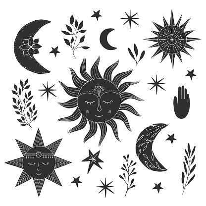 Set of hand drawn  suns with faces, half moons and stars. Tattoo design. Vector isolated illustration.